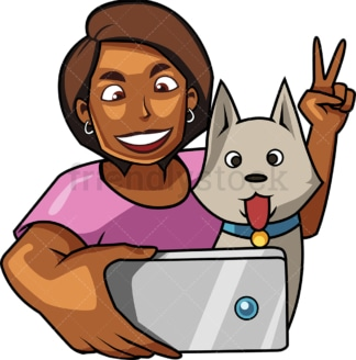 Black woman snapping picture with dog. PNG - JPG and vector EPS file formats (infinitely scalable). Image isolated on transparent background.