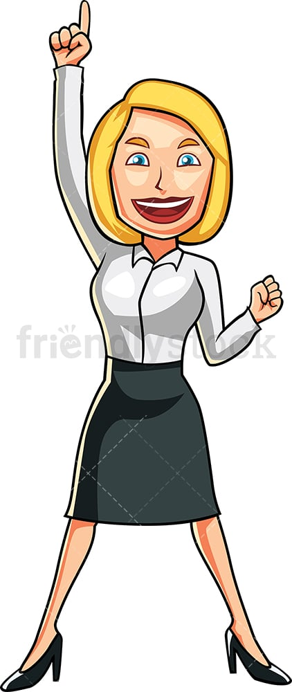 Businesswoman feeling like a winner. PNG - JPG and vector EPS file formats (infinitely scalable). Image isolated on transparent background.