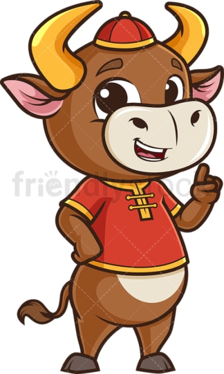 Chinese new year ox pointing up. PNG - JPG and vector EPS (infinitely scalable).