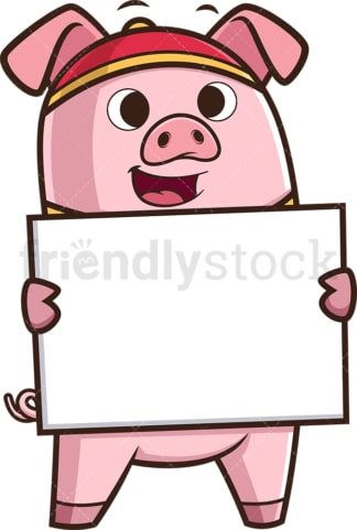 Chinese new year pig holding empty sign. PNG - JPG and vector EPS (infinitely scalable).