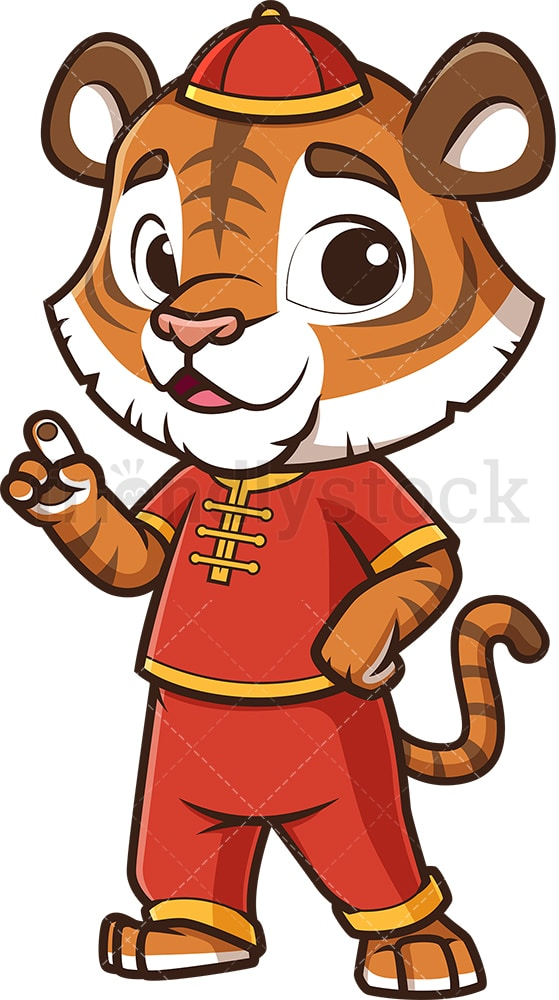 Chinese new year tiger pointing up. PNG - JPG and vector EPS (infinitely scalable).