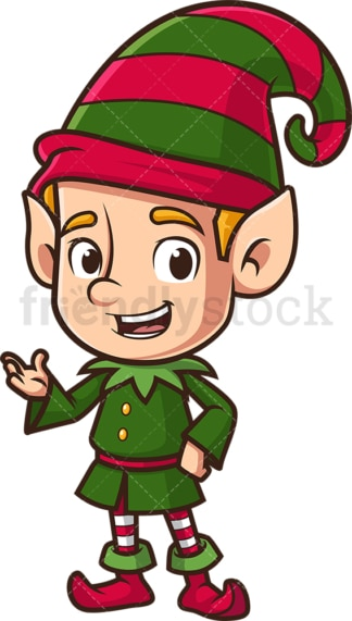 Christmas elf talking. PNG - JPG and vector EPS (infinitely scalable).