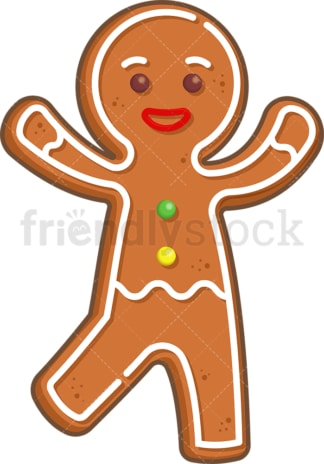 Happy gingerbread man. PNG - JPG and vector EPS (infinitely scalable).