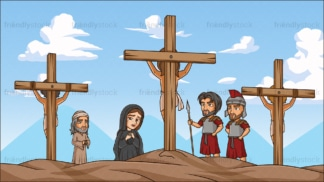 Jesus christ crucifixion in 16:9 aspect ratio. PNG - JPG and vector EPS file formats (infinitely scalable).