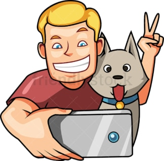 Man taking selfie with dog. PNG - JPG and vector EPS file formats (infinitely scalable). Image isolated on transparent background.