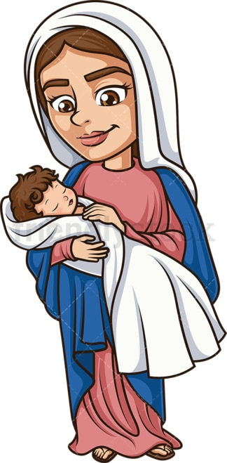 Virgin Mary With Baby Jesus Christ. PNG - JPG and vector EPS (infinitely scalable).