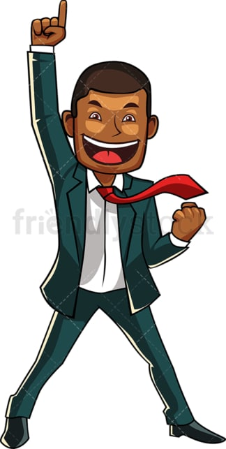 Winning black businessman. PNG - JPG and vector EPS file formats (infinitely scalable). Image isolated on transparent background.