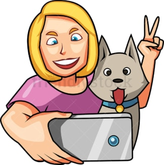 Woman taking selfie with dog. PNG - JPG and vector EPS file formats (infinitely scalable). Image isolated on transparent background.