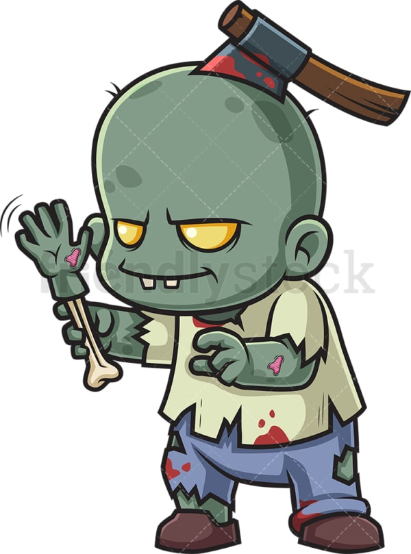 Zombie waving with arm bone. PNG - JPG and vector EPS (infinitely scalable).