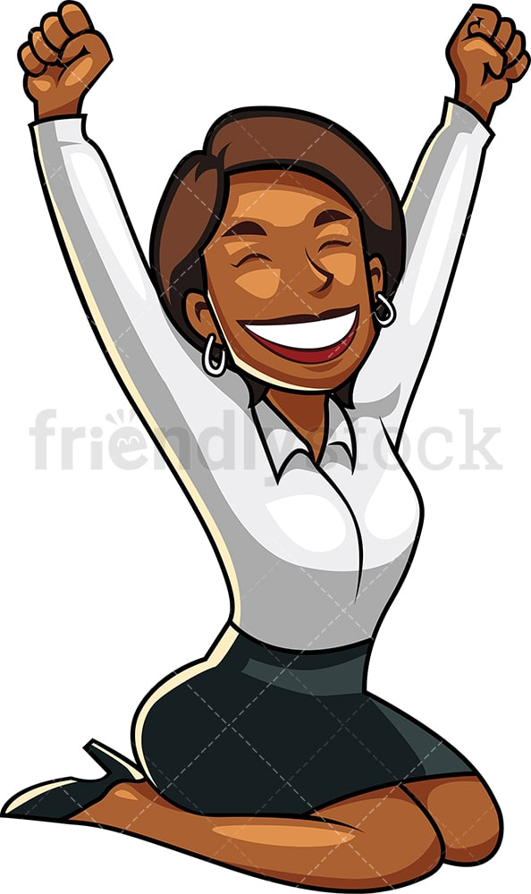 Black businesswoman feeling victorious. PNG - JPG and vector EPS file formats (infinitely scalable). Image isolated on transparent background.