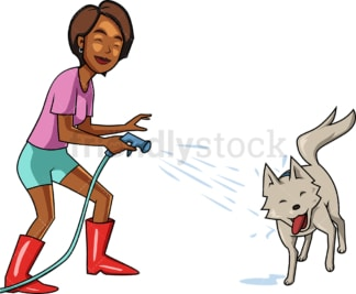 Black woman splashing her dog with water. PNG - JPG and vector EPS file formats (infinitely scalable). Image isolated on transparent background.