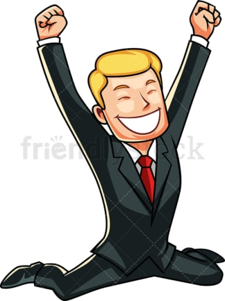 Businessman feeling victorious. PNG - JPG and vector EPS file formats (infinitely scalable). Image isolated on transparent background.