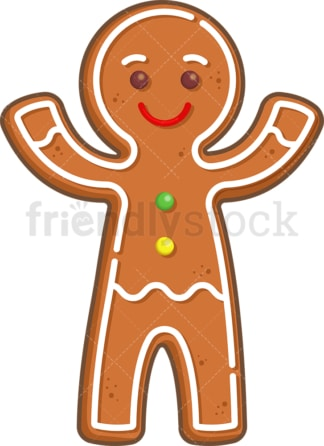 Cheerful gingerbread man. PNG - JPG and vector EPS (infinitely scalable).