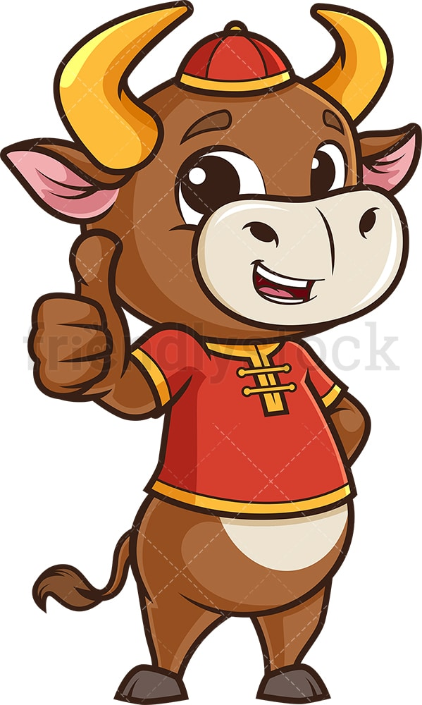 Chinese new year ox thumbs up. PNG - JPG and vector EPS (infinitely scalable).