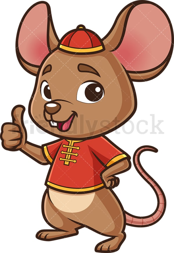 Chinese new year rat thumbs up. PNG - JPG and vector EPS (infinitely scalable).