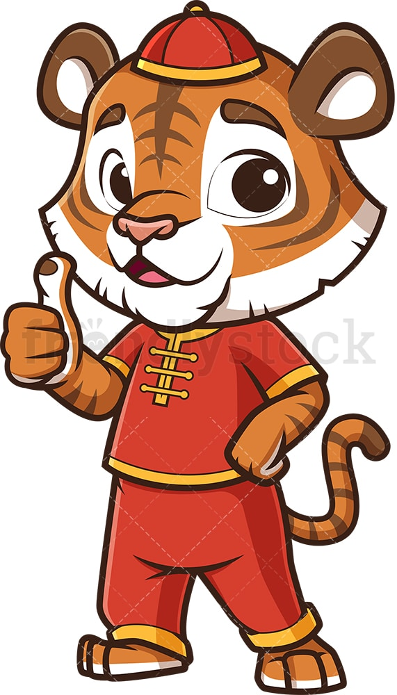 Chinese new year tiger thumbs up. PNG - JPG and vector EPS (infinitely scalable).