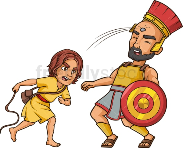 David hitting goliath with sling shot. PNG - JPG and vector EPS (infinitely scalable).