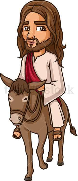 Jesus Christ riding donkey. PNG - JPG and vector EPS (infinitely scalable).