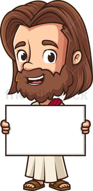 Jesus holding blank sign. PNG - JPG and vector EPS (infinitely scalable).