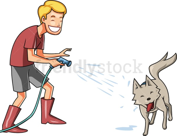 Man squirting his dog with hose. PNG - JPG and vector EPS file formats (infinitely scalable). Image isolated on transparent background.