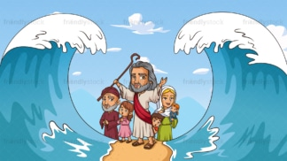 Moses crossing of the red sea in 16:9 aspect ratio. PNG - JPG and vector EPS file formats (infinitely scalable).