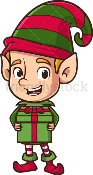 Santa's elf holding present. PNG - JPG and vector EPS (infinitely scalable).