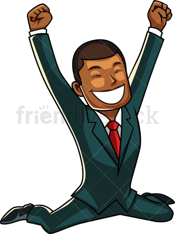 Victorious black businessman. PNG - JPG and vector EPS file formats (infinitely scalable). Image isolated on transparent background.