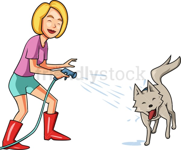 Woman squirting dog with hose. PNG - JPG and vector EPS file formats (infinitely scalable). Image isolated on transparent background.