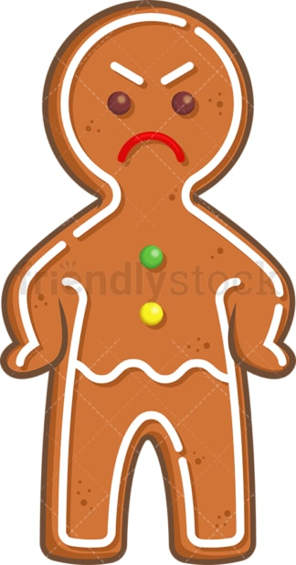 Angry gingerbread man. PNG - JPG and vector EPS (infinitely scalable).