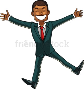Black businessman doing happy dance. PNG - JPG and vector EPS file formats (infinitely scalable). Image isolated on transparent background.