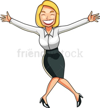 Businesswoman doing a happy dance. PNG - JPG and vector EPS file formats (infinitely scalable). Image isolated on transparent background.