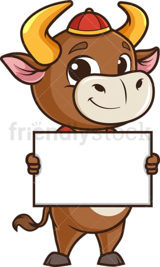 Chinese new year ox holding blank sign. PNG - JPG and vector EPS (infinitely scalable).