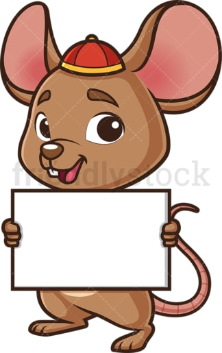 Chinese new year rat holding blank sign. PNG - JPG and vector EPS (infinitely scalable).