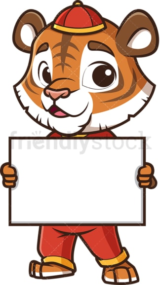 Chinese new year tiger holding blank sign. PNG - JPG and vector EPS (infinitely scalable).