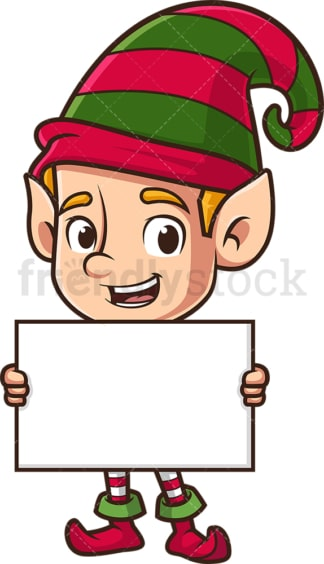 Christmas elf holding blank sign. PNG - JPG and vector EPS (infinitely scalable).