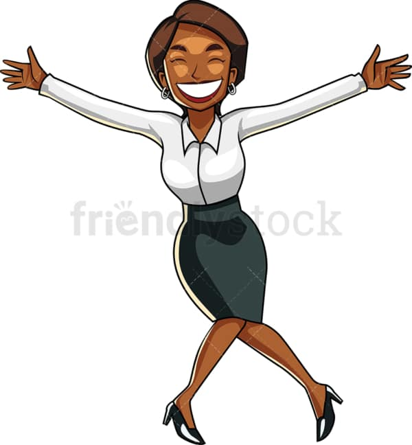 Ecstatic black businesswoman bowing. PNG - JPG and vector EPS file formats (infinitely scalable). Image isolated on transparent background.