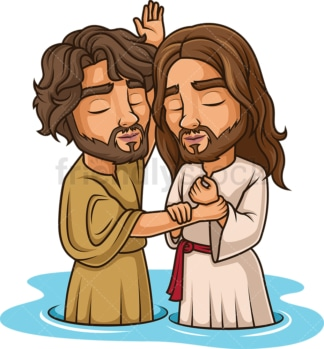 John Baptizing Jesus In Jordan River. PNG - JPG and vector EPS (infinitely scalable).