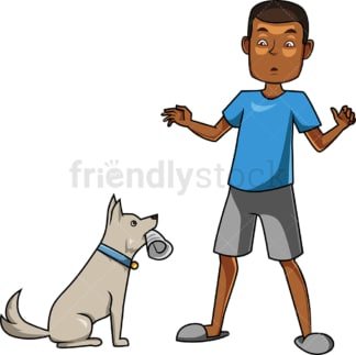 Dog delivering papers to black man. PNG - JPG and vector EPS file formats (infinitely scalable). Image isolated on transparent background.