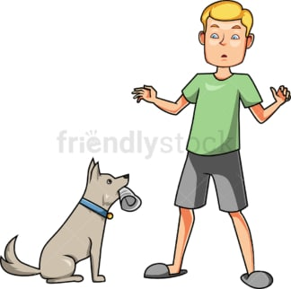 Obedient dog delivering newspaper to man. PNG - JPG and vector EPS file formats (infinitely scalable). Image isolated on transparent background.