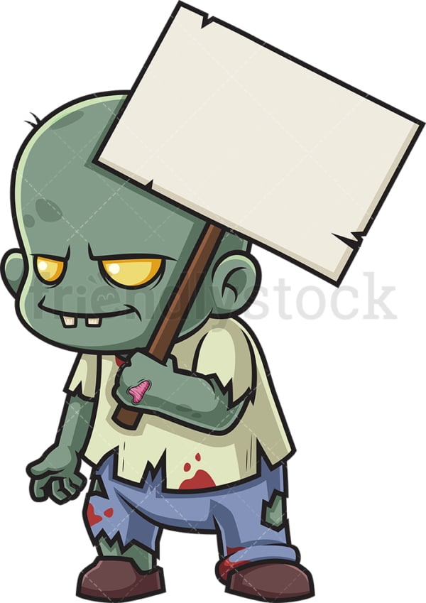 Zombie holding blank sign. PNG - JPG and vector EPS (infinitely scalable).