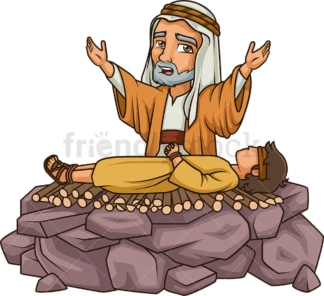 Abraham sacrificing isaac. PNG - JPG and vector EPS (infinitely scalable).