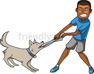 Black man playing tug of war with dog. PNG - JPG and vector EPS file formats (infinitely scalable). Image isolated on transparent background.