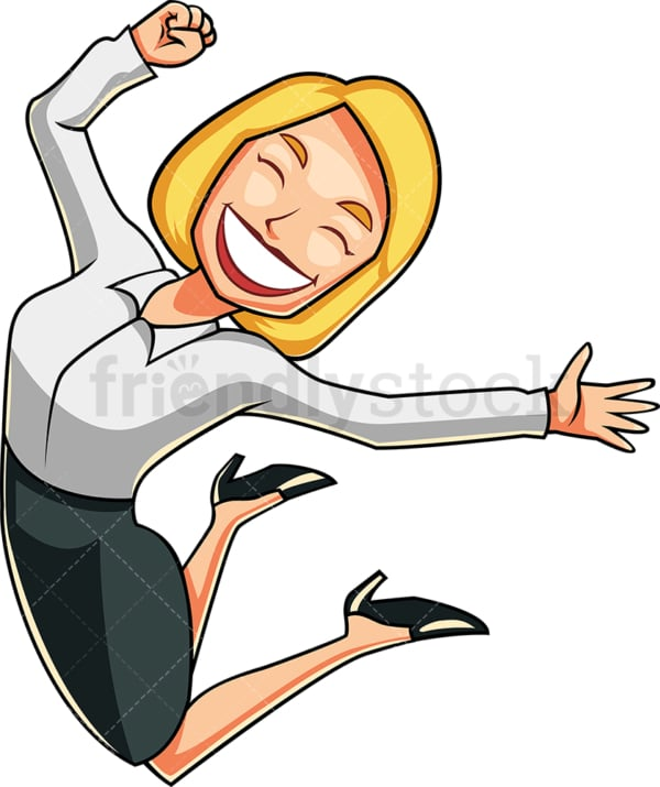 Business woman feeling euphoric. PNG - JPG and vector EPS file formats (infinitely scalable). Image isolated on transparent background.
