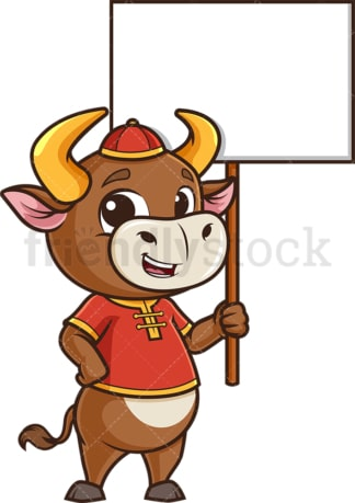 Chinese new year ox with empty sign. PNG - JPG and vector EPS (infinitely scalable).