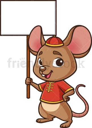 Chinese new year rat with empty sign. PNG - JPG and vector EPS (infinitely scalable).