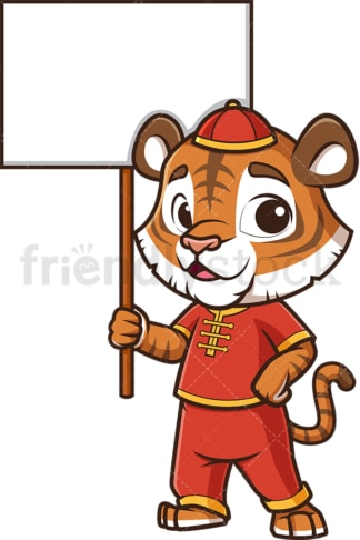Chinese new year tiger with empty sign. PNG - JPG and vector EPS (infinitely scalable).