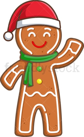 Gingerbread man with christmas hat. PNG - JPG and vector EPS (infinitely scalable).