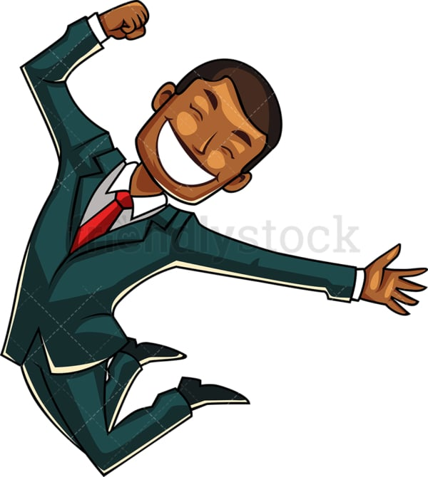 Joyous black businessman. PNG - JPG and vector EPS file formats (infinitely scalable). Image isolated on transparent background.