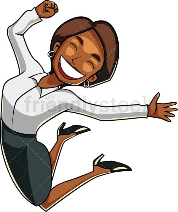 Jubilant black woman mid jump. PNG - JPG and vector EPS file formats (infinitely scalable). Image isolated on transparent background.
