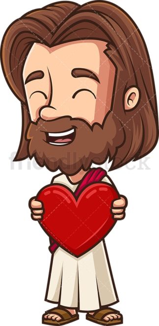 Kawaii jesus holding heart. PNG - JPG and vector EPS (infinitely scalable).